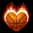 Vector basketball on fire in the shape of heart — Stock Vector