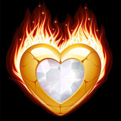 Jewelry in the shape of heart in fire — Stock vektor