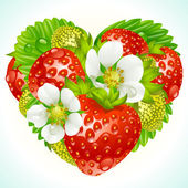 Vector strawberries in the shape of heart — Stock Vector