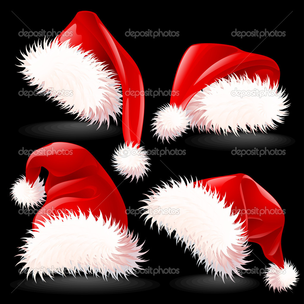 Four Santa's Hats — Stock Vector #7546002