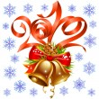 Christmas and New Year decoration, red ribbon, golden bell, snowflake set — Imagen vectorial