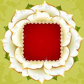 Vector witte roos cirkelframe met parel ketting — Stockvector