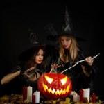 Halloween witches — Stock Photo