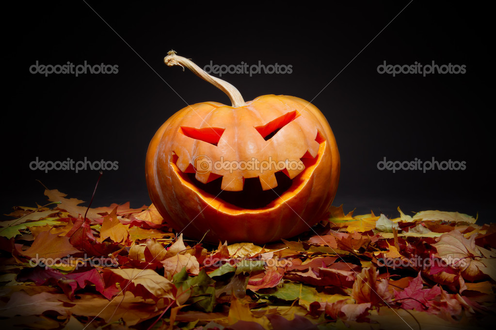Halloween pumpkin in the autumn leaves  Stock Photo #7209010