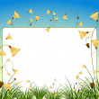 Stock Vector: White sign with flowers and grass