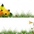Headers with flowers, grass and ladybugs — Stock Vector
