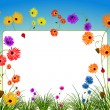 Empty billboard with flowers and grass — Stock Vector #6800972