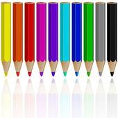 Pencils reflected — Stock Vector