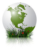 Earth globe and grass reflected — Stock Vector