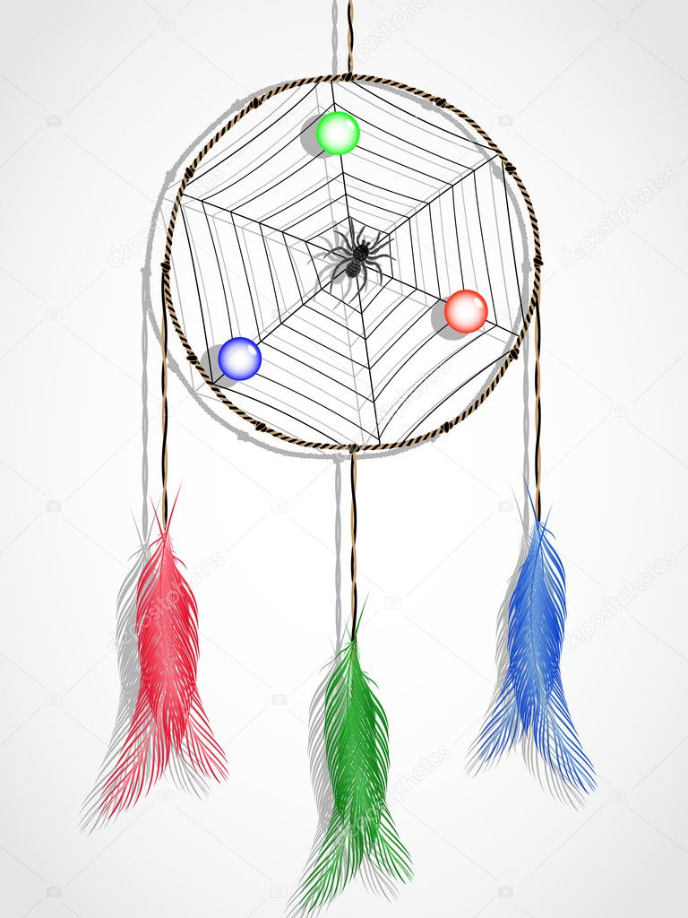 Dream catcher against white background, abstract vector art illustration — Stock Vector #6800813