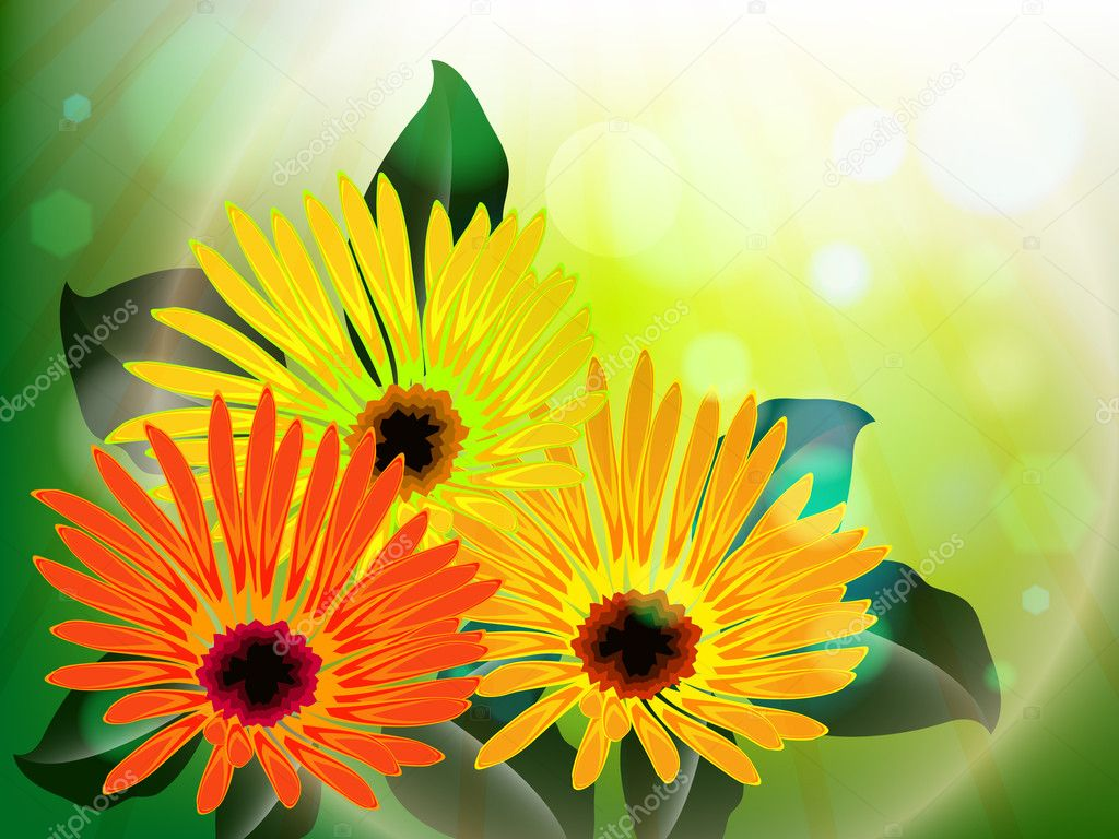 Flowers and light abstract, vector art illustration; image contains gradient mesh and transparency — Stock Vector #6800963
