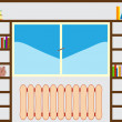Bookshelf around window — Stock Vector