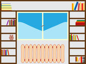 Bookshelf around window — Stockvector