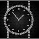 ダイヤモンドの時計を持つ抽象イラスト — ストックベクタ