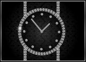 Abstraktní ilustrace s diamond hodinky — Stock vektor