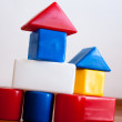 Plastic  Building Block House — Stock Photo
