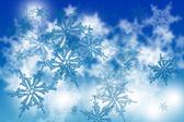 снежинки синий абстрактный фон — Стоковое фото