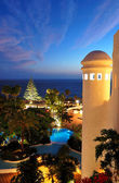 Sunset and beach at luxury hotel, Tenerife island, Spain — 图库照片