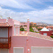 View on the pink villa, Tenerife island, Spain - Stock Photo