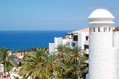 Recreation area and beach of luxury hotel, Tenerife island, Spai — Stock Photo