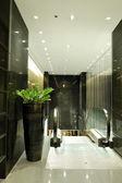 Escalator at luxury hotel interior in night illumination, Pattay — Stock Photo