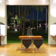 Modern lobby interior at night illumination, Bentota, Sri Lanka — Stock Photo