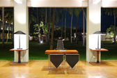 现代的大堂室内夜间照明,斯里兰卡,本托特 — 图库照片