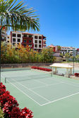 Tennis courts at the luxury hotel, Tenerife island, Spain — Stock Photo