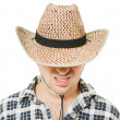 Cowboy hat pulled down over his eyes. — Stock Photo