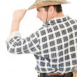 Cowboy takes off his hat. — Stock Photo