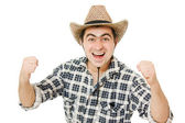 Cowboy compresses his hands into fists. — Stock Photo