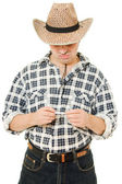 Cowboy with a cigarette in his hand. — Stock Photo