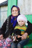 La vecchia signora e una ragazza con un cucciolo in braccio. — Foto Stock