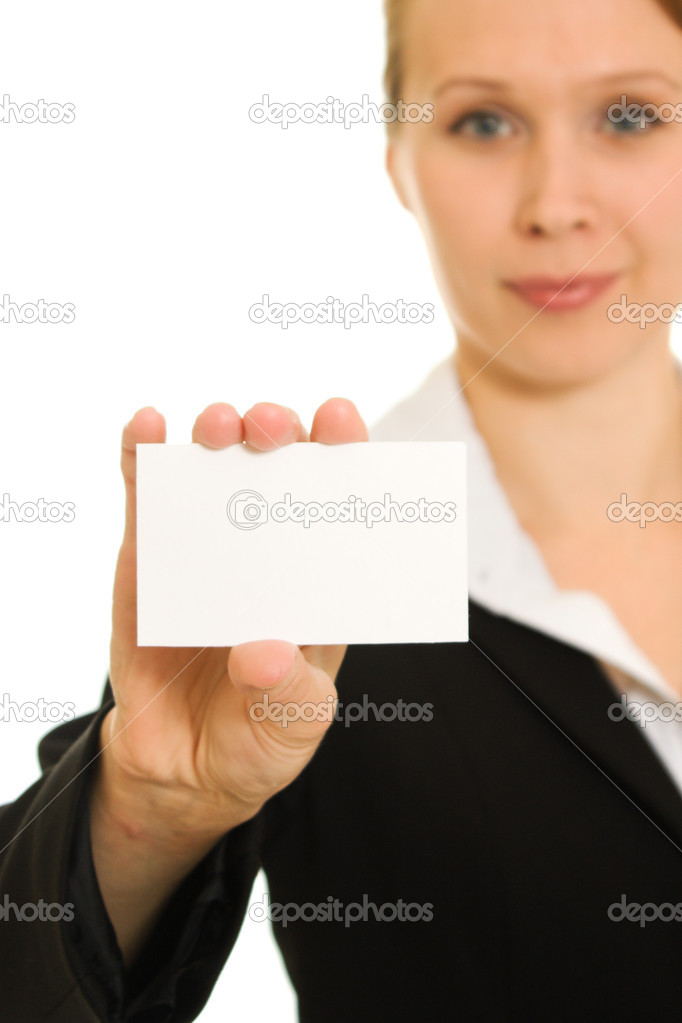 Businesswoman with visit card in his hand. — Stock Photo #6819901