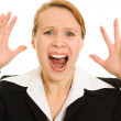 Screaming businesswoman on a white background. — Stockfoto