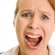 Screaming businesswoman on a white background. — Stock Photo