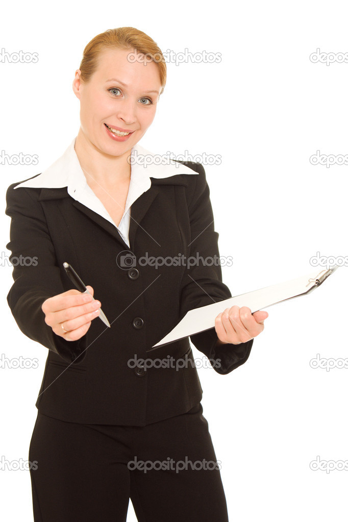 Businesswoman sign the document on a white background. — Stock Photo #6820341