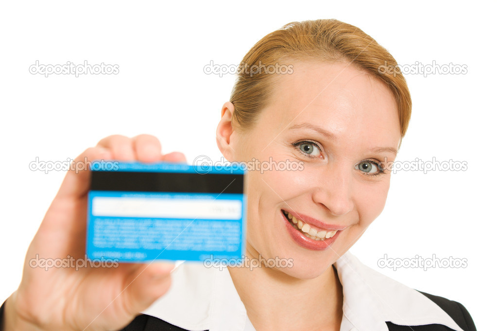 Businesswoman with a debit card on a white background. — Stock Photo #6820365