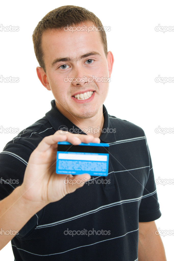 Man with a debit card on a white background. — Stockfoto #6820676