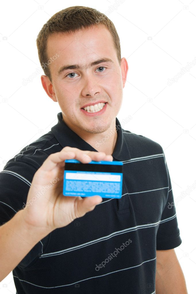 Man with a debit card on a white background. — Lizenzfreies Foto #6820676