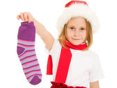 Happy Christmas from sock child on a white background. — Stock Photo