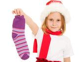 Wesołych Świąt od dziecka skarpety na białym tle. — Zdjęcie stockowe
