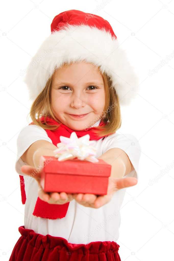 Happy Christmas child with a box on a white background. — Stock Photo #7259215