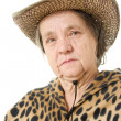 Stock Photo: Old cowgirl on white background.