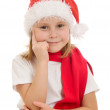 Happy Child on white background dreams of Christmas. — Stock Photo