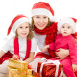 Happy Christmas woman with children on a white background. — Foto de Stock