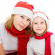 Happy Christmas mother and daughter on a white background. — Stock Photo #7486706