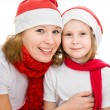 Happy Christmas mother and daughter on a white background. — Stock Photo