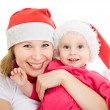 Happy Christmas mother and daughter on a white background. — Stock Photo #7486740