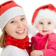 Happy Christmas mother and daughter on a white background. — Stock Photo #7486759